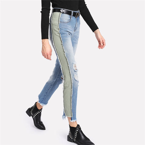 Blue Panel Side Distressed Jeans