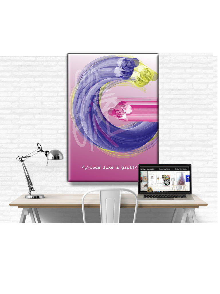Wall Art Canvas Print: Code Like A Girl