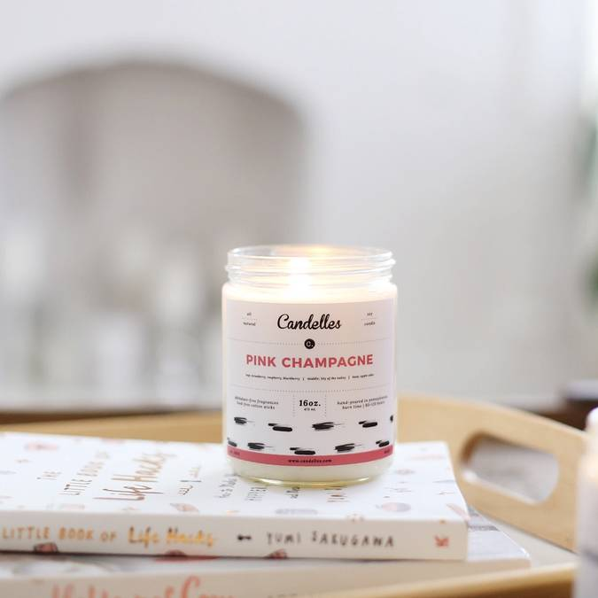 PINK CHAMPAGNE CANDLE - SOY CANDLE - Erin Edit Shop