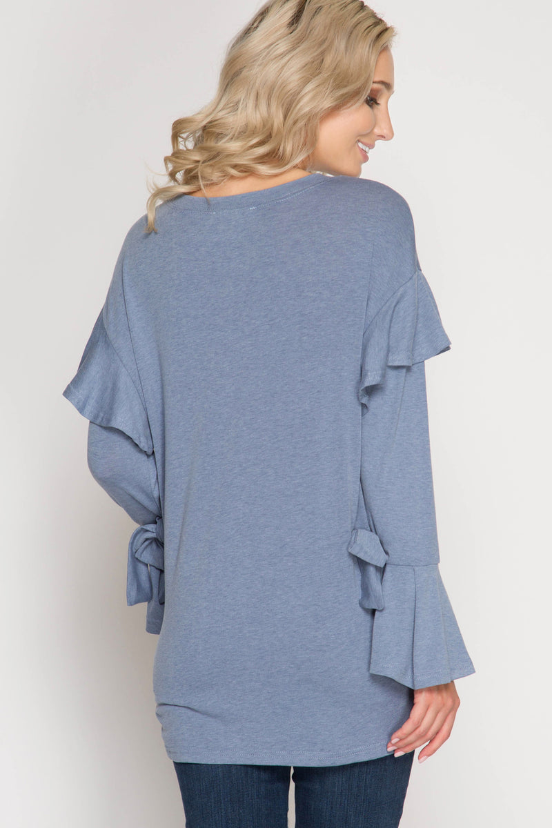 DON'T BE BLUE RUFFLED SWEATER - Erin Edit Shop