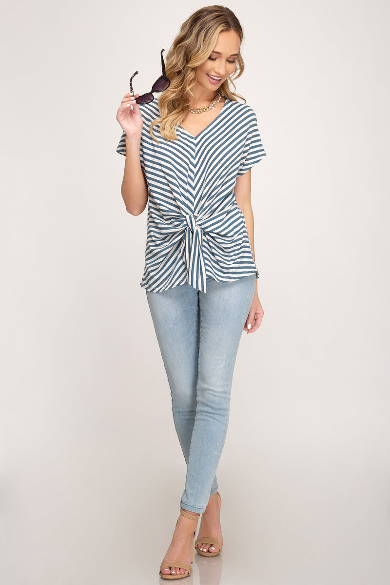 TIES AND STRIPES FRONT TIE SHIRT - Erin Edit Shop
