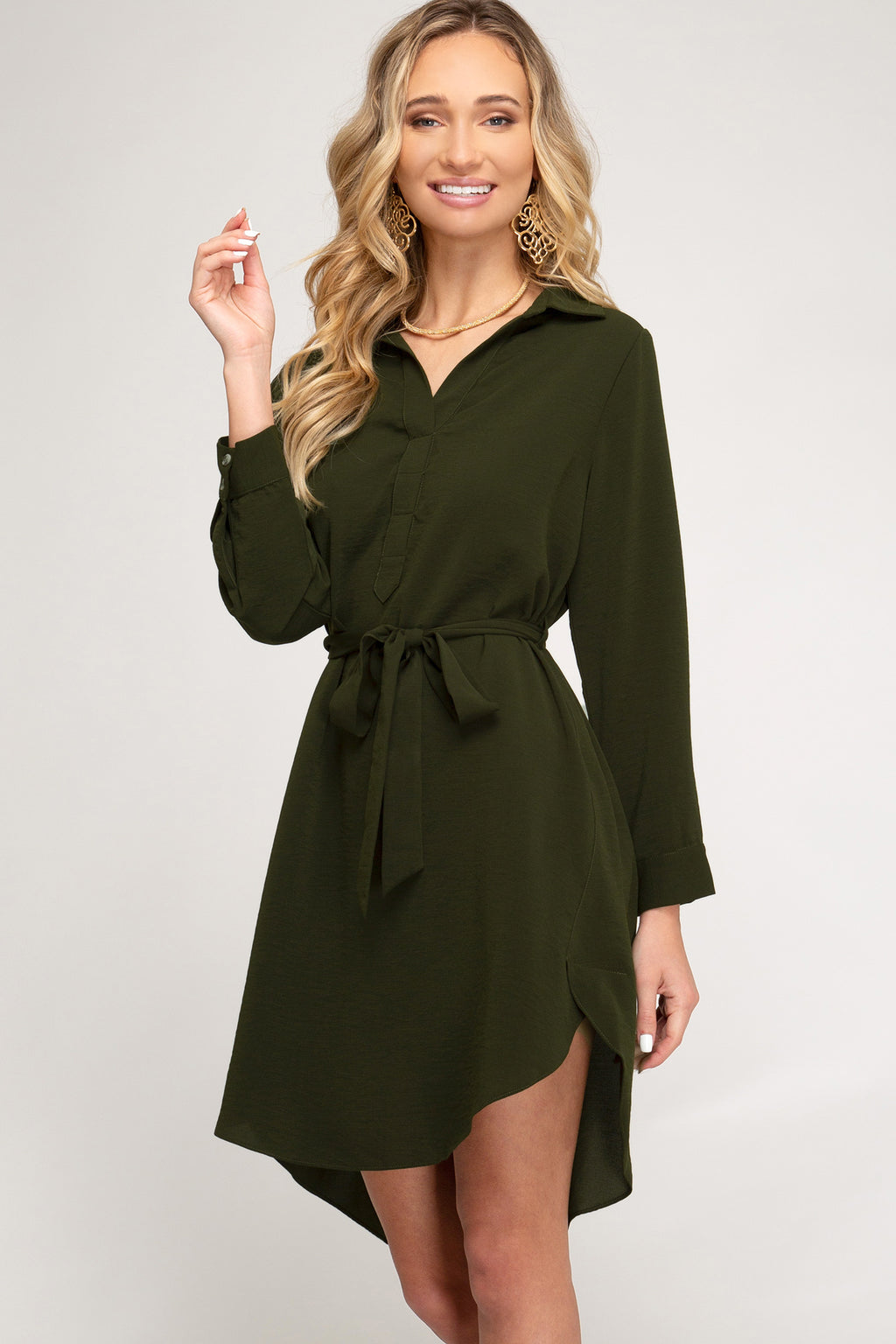 OLIVE SHIRT DRESS - Erin Edit Shop
