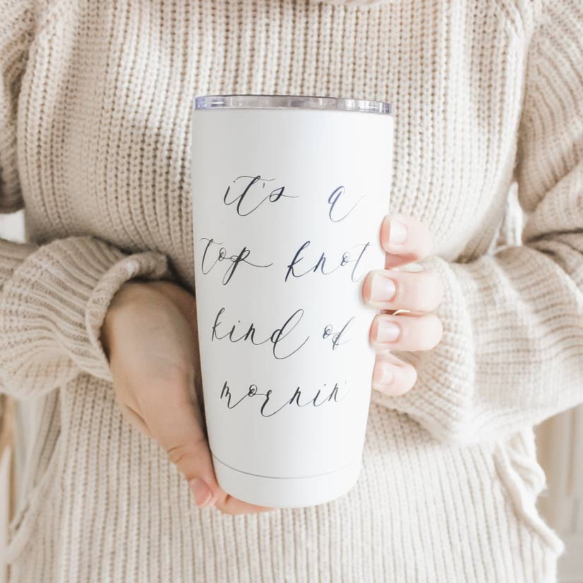 TOP KNOT KIND OF MORNING WHITE TRAVEL MUG