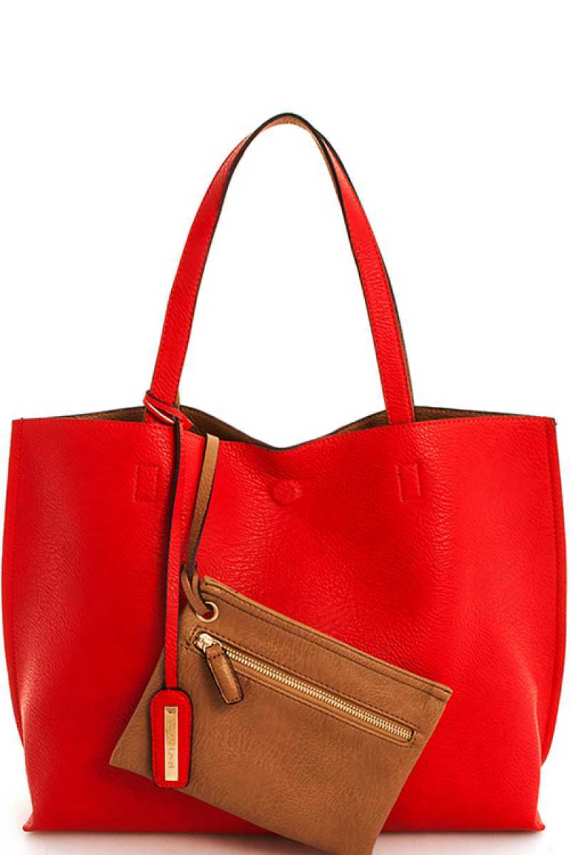 2 IN 1 REVERSIBLE TOTE BAG IN RED/TAUPE - Erin Edit Shop