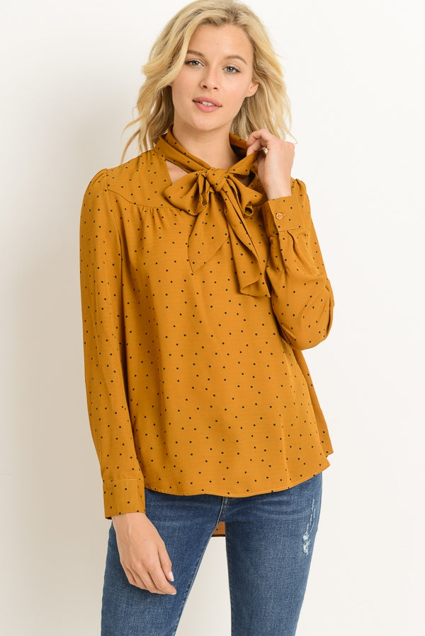 CAMEL POLKA DOT TOP - Erin Edit Shop