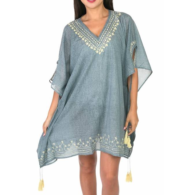 BEACH PLEASE - GREY AND WHITE COVER-UP - Erin Edit Shop