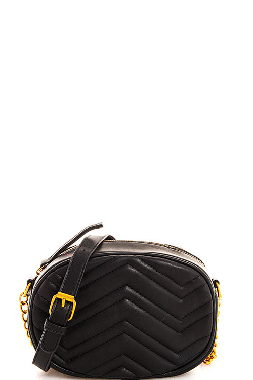 CHEVRON QUILTED CROSSBODY IN BLACK - Erin Edit Shop