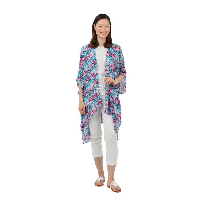 CATALINA KIMONO - MINT TRIBAL PRINT - Erin Edit Shop
