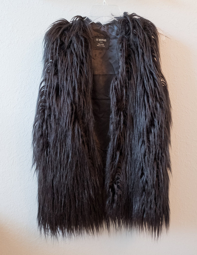 FAUX FUR BLACK VEST - Erin Edit Shop