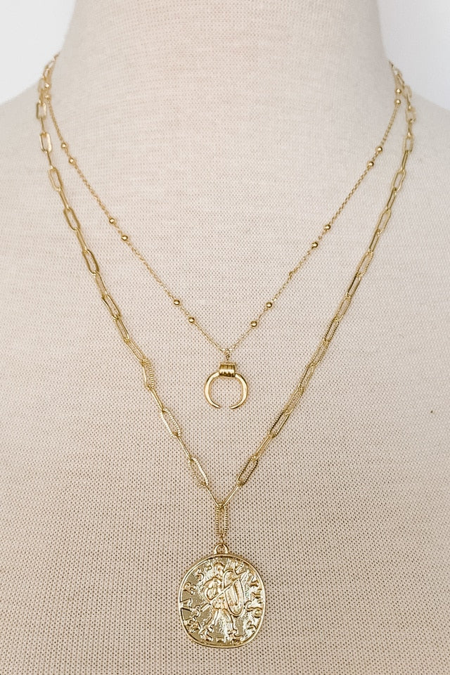 Lucky Charm Coin and Horn Necklace