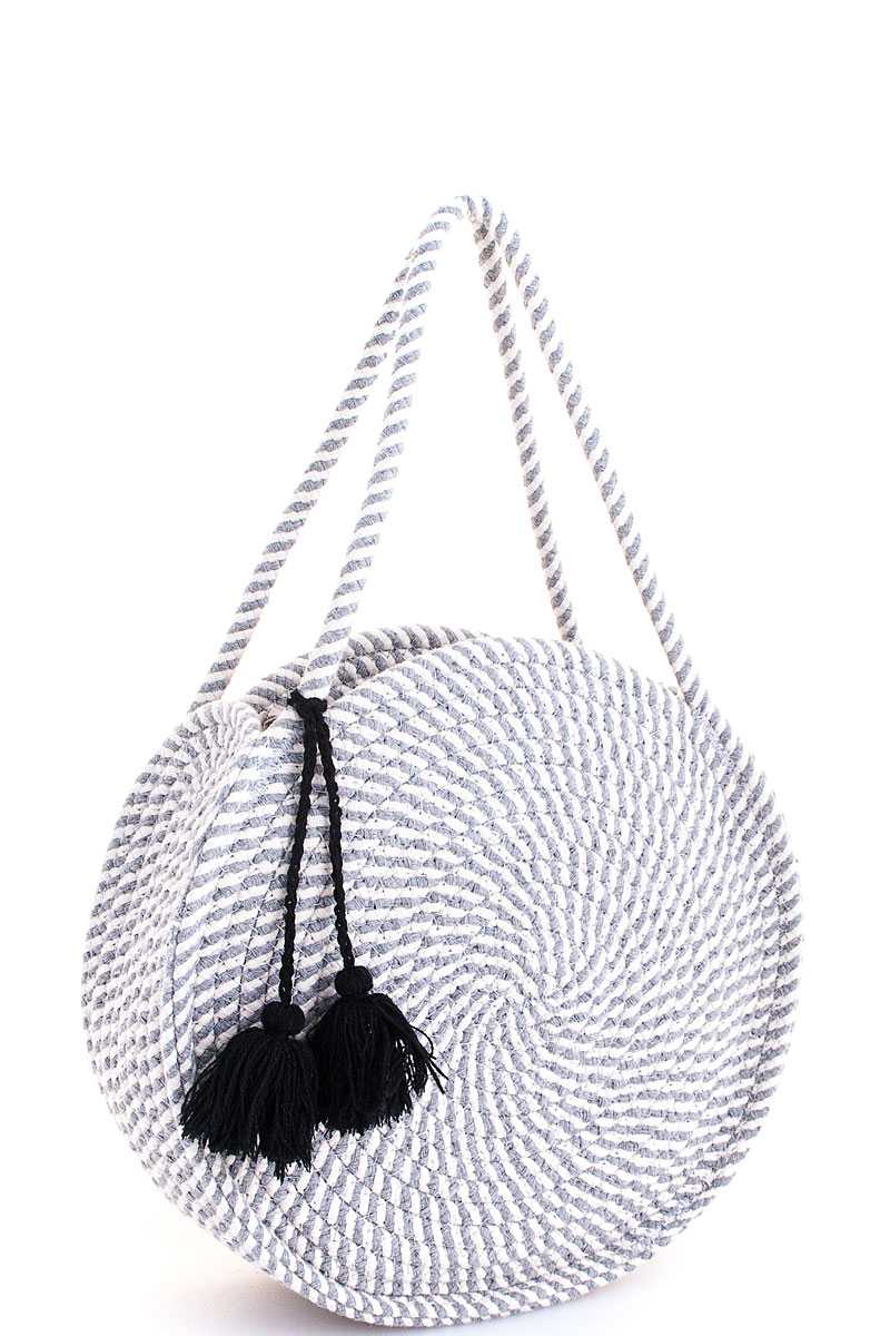 CIRCLE CHIC - GREY AND WHITE CIRCLE BAG - Erin Edit Shop