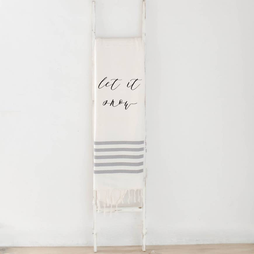 LET IT SNOW BLANKET (GREY STRIPED) - Erin Edit Shop
