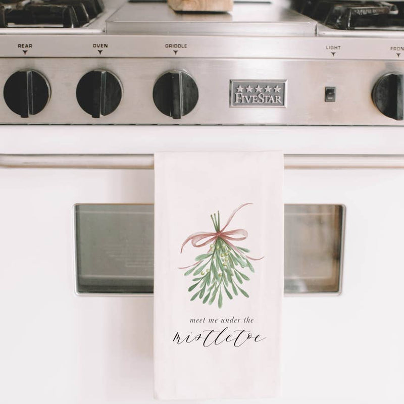 MEET ME UNDER THE MISTLETOE TEA TOWEL - Erin Edit Shop
