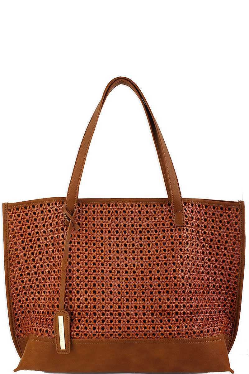 CHIC SHOPPER TOTE - BROWN - Erin Edit Shop