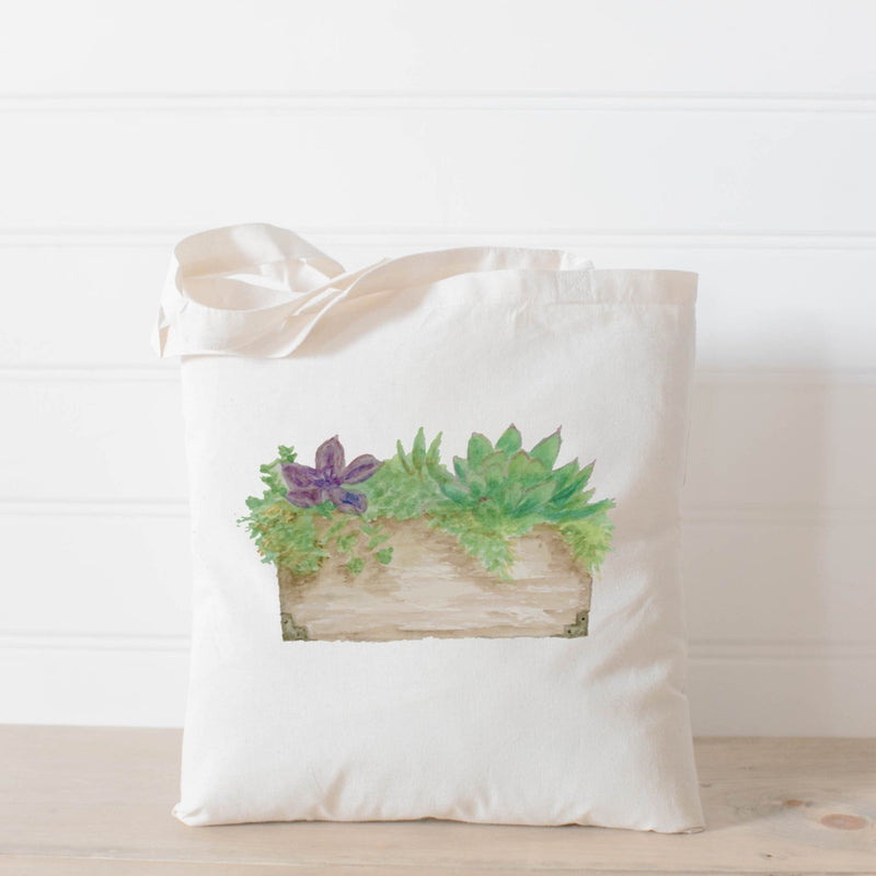 SUCCULENT WATERCOLOR TOTE BAG - Erin Edit Shop