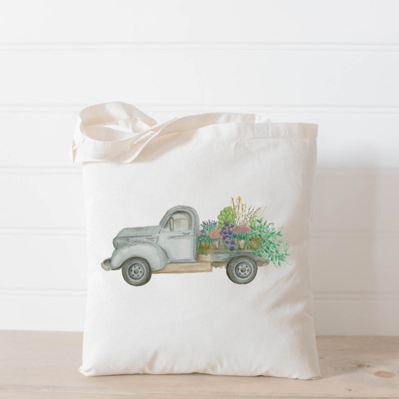 FLORAL TRUCK WATERCOLOR TOTE BAG - Erin Edit Shop