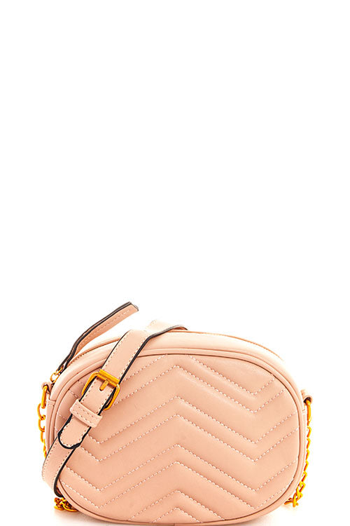 CHEVRON QUILTED CROSSBODY IN BLUSH - Erin Edit Shop