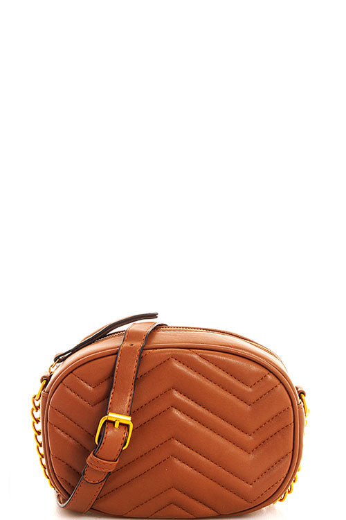 CHEVRON QUILTED CROSSBODY IN TAN - Erin Edit Shop