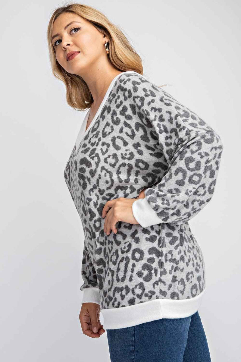 PLUS SIZE V-NECK ANIMAL PRINT SWEATSHIRT