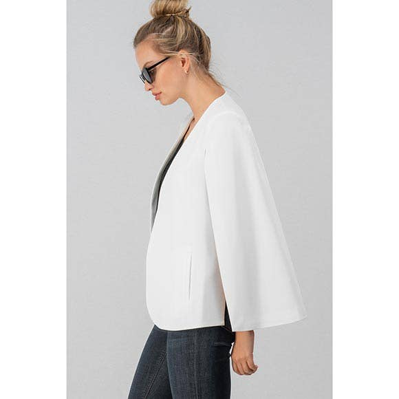 OPEN SLEEVE CAPE BLAZER - BLACK