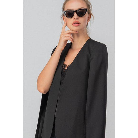 OPEN SLEEVE CAPE BLAZER - BLACK - Erin Edit Shop