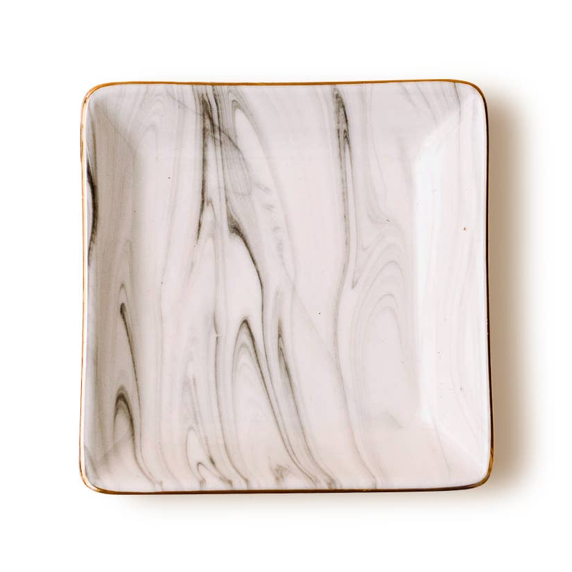 MARBLED GREY JEWELRY DISH