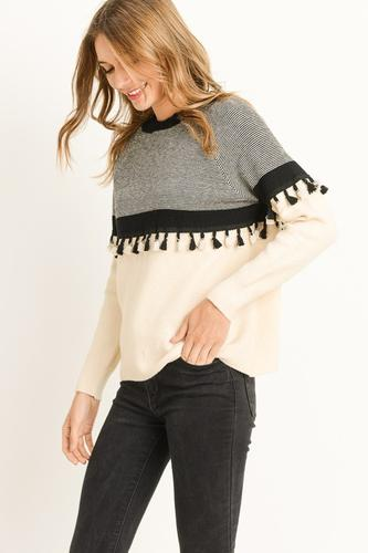 BLACK AND WHITE FRINGE SWEATER - Erin Edit Shop