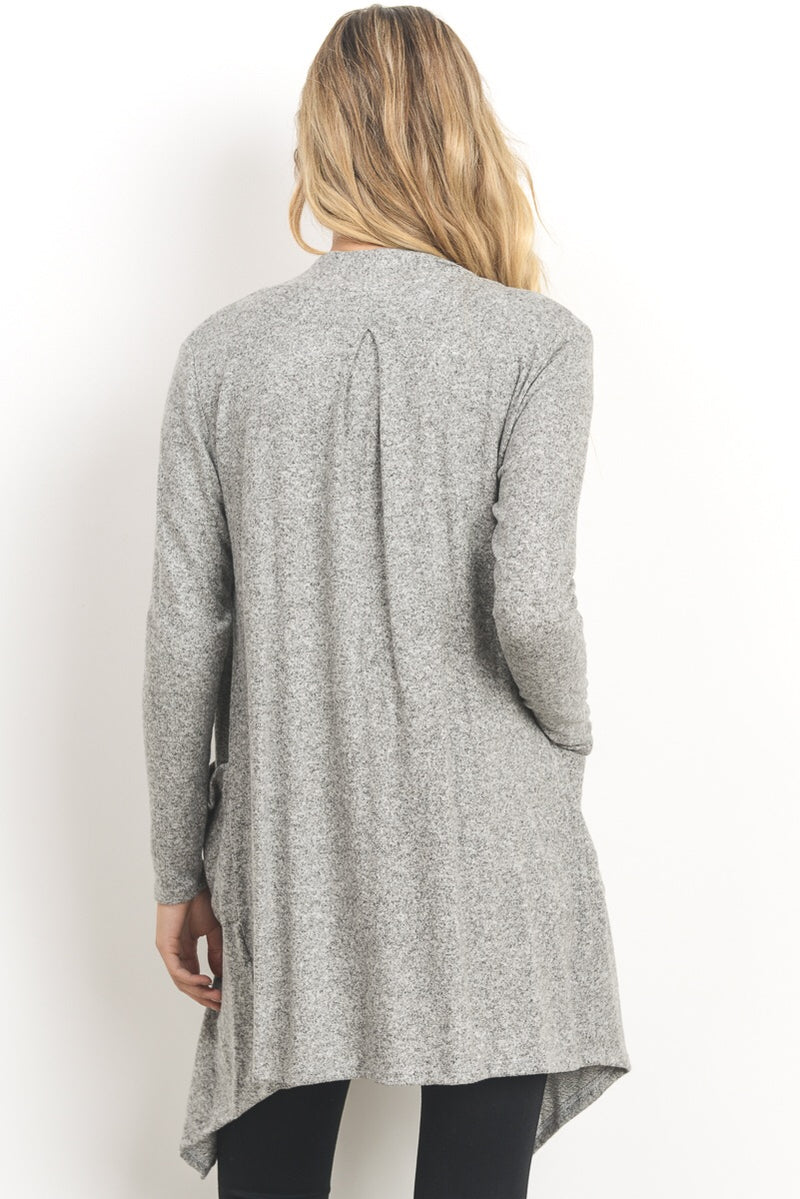 Open Front Cardigan-Heather Grey - Erin Edit Shop