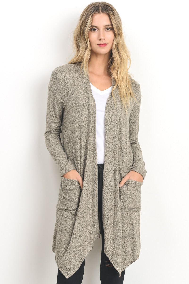 Open Front Cardigan-Beige - Erin Edit Shop