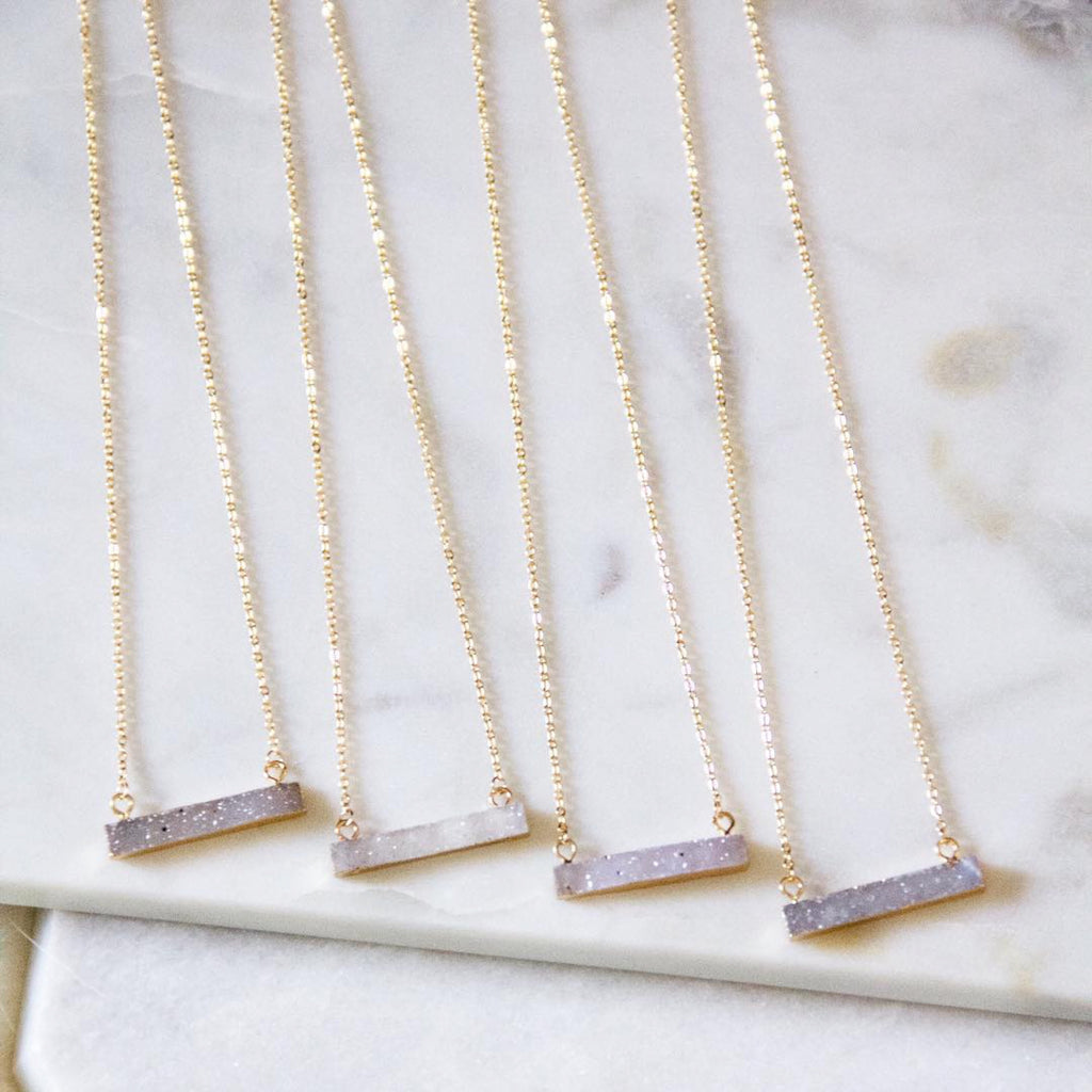 Druzy Bar Necklace - Erin Edit Shop