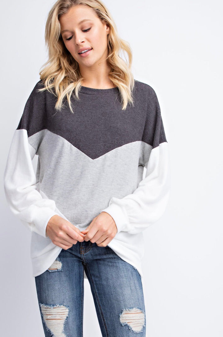 LET'S STAY IN CHEVRON SWEATER - Erin Edit Shop