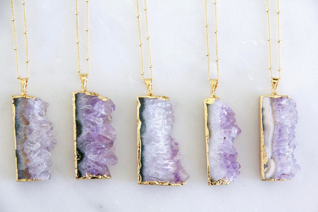 Amethyst Geode Slice Necklace - Erin Edit Shop