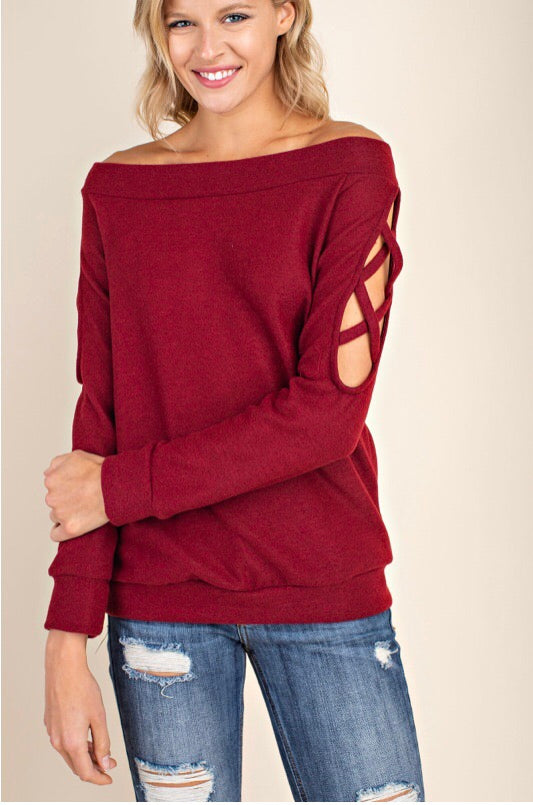 BURGUNDY COLD SHOULDER SWEATER - Erin Edit Shop