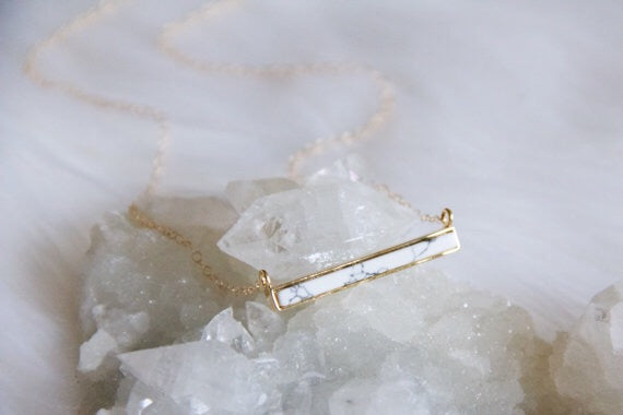 White Marble Bar Necklace - Erin Edit Shop