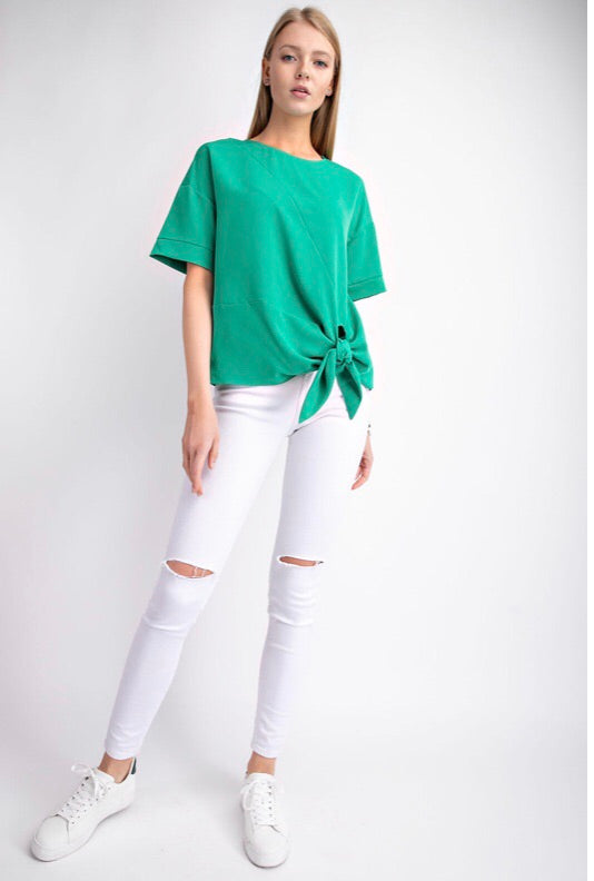 GREEN GODDESS - TIE SHORT SLEEVE T-SHIRT - Erin Edit Shop