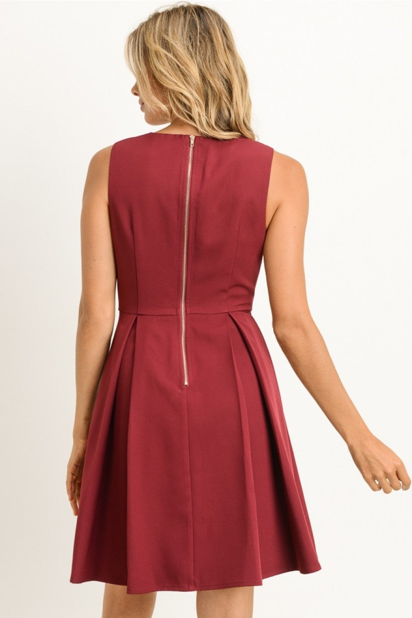 FIT AND FLARE HOLIDAY DRESS - WINE - Erin Edit Shop