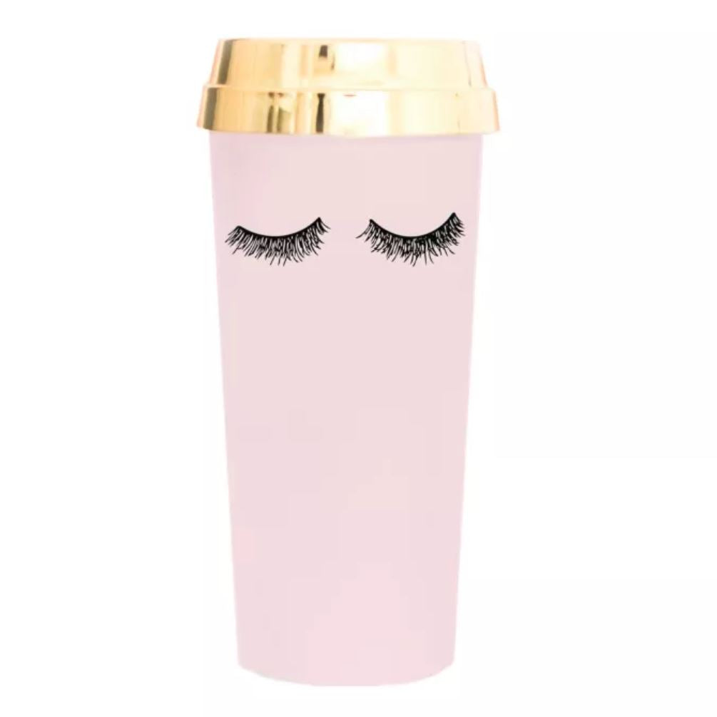 Pink Eyelashes Gold Travel Mug - Erin Edit Shop