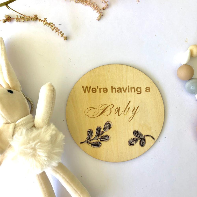 Wooden Announcement Plaque - We're having a Baby