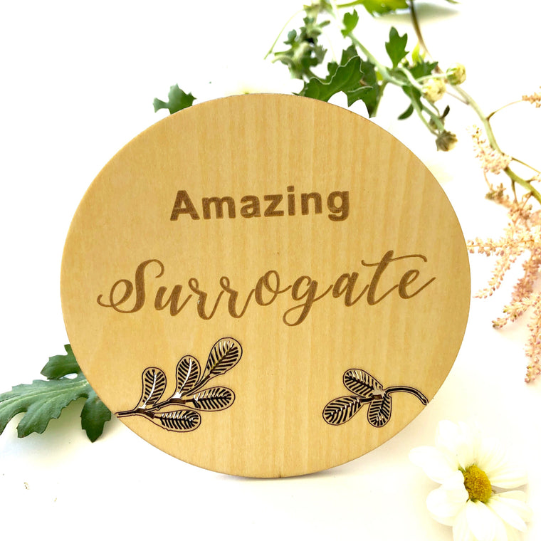 Wooden Announcement Plaque - Surrogate