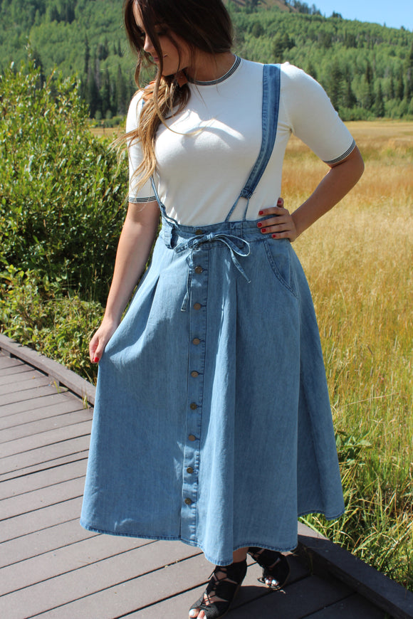 Courtney Overall Denim Skirt