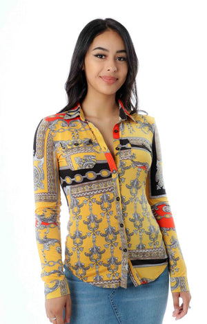 Long Sleeve Button Yellow Multi