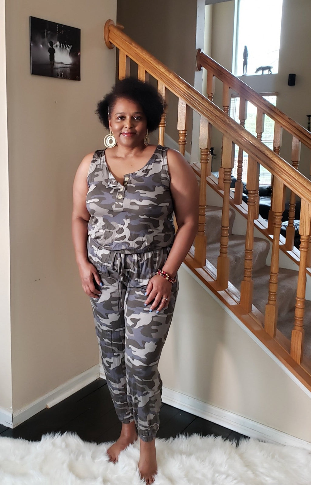 Camo Button Top Jumpsuit