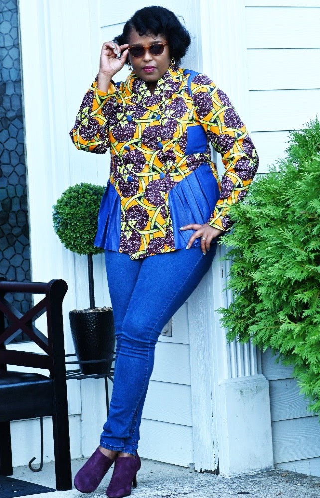African Ankara Purple flower Jacket