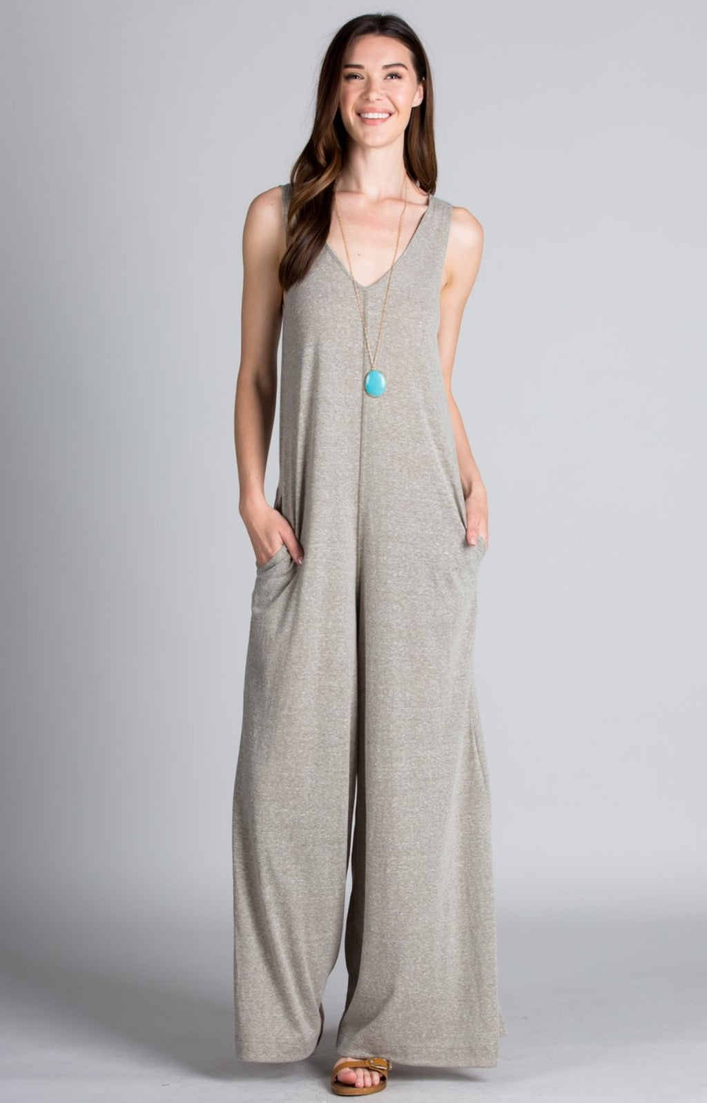 Grey Wide leg Jumpsuit