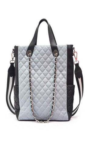 Grey Quilt Tote Bag
