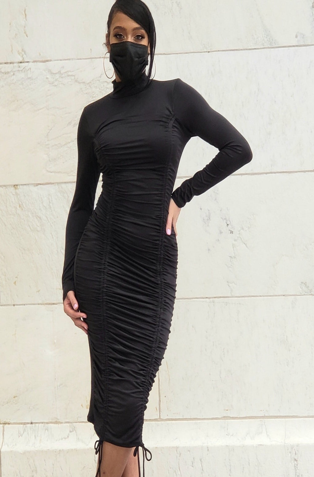 Black High Neck Ruched Midi Dress