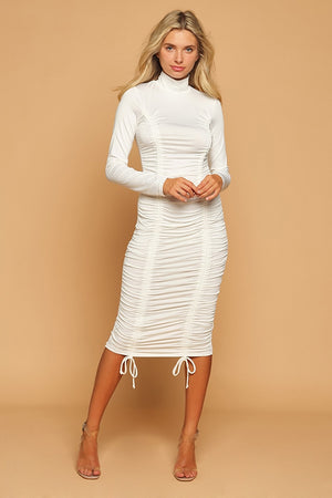 Off White High Neck Ruched Midi Dress