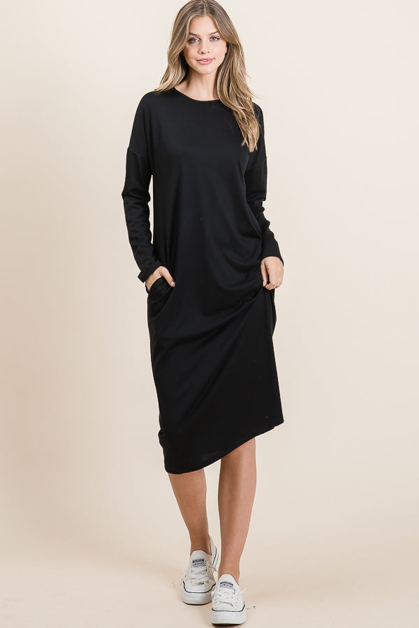 Black Midi Basic Tee Dress