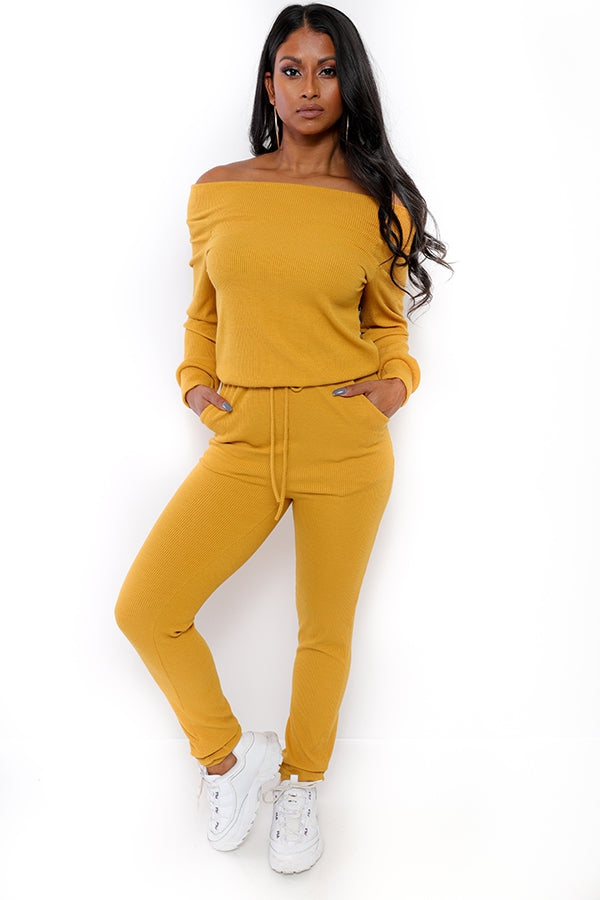 Off the Shoulder Jumpsuit Tuscany Yellow