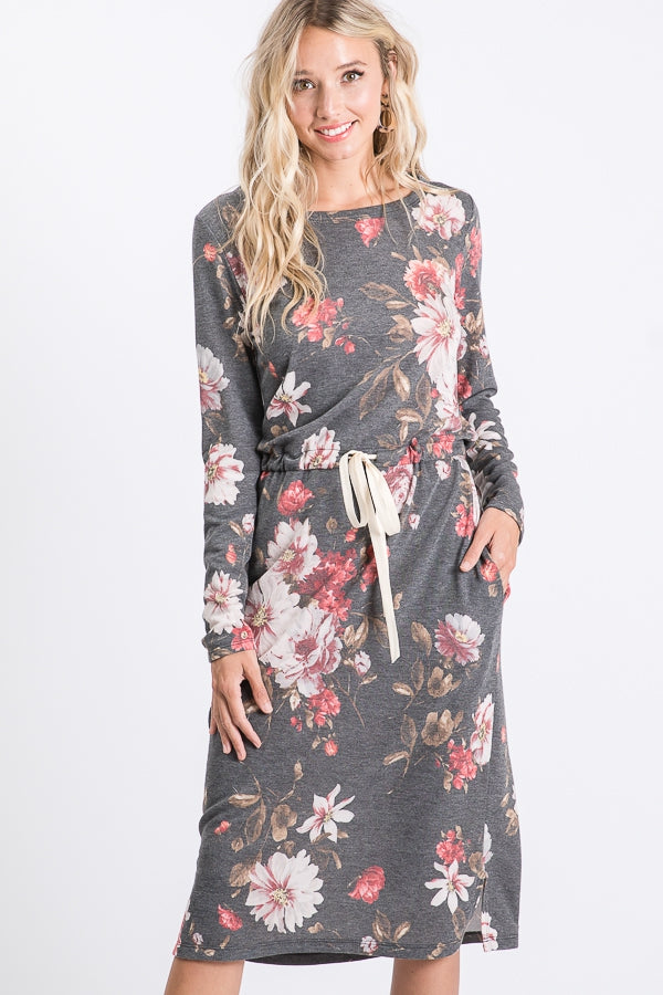 Long Sleeve Midi Floral Dress